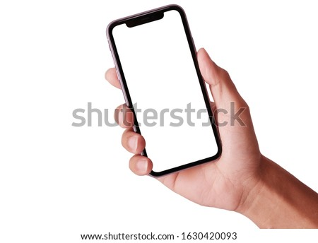 Bangkok, Thailand - JAN 20, 2019: Studio shot of Hand holding Smartphone iPhone 11 Pro Max and Show space white screen for mobile Phone your web site design, logo, app - include clipping path.