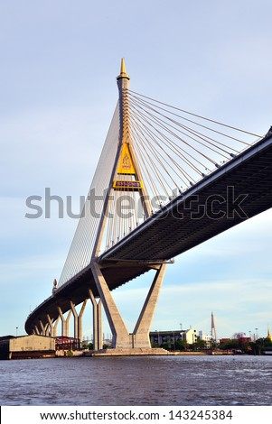 BANGKOK, THAILAND-JAN 28: The Bhumibol Bridge, also known as Industrial Ring bridge on Jan 28, 2013 in Bangkok. It is a part of 13 km long Industrial Ring Road connecting Bangkok with Samut Prakan. #143245384