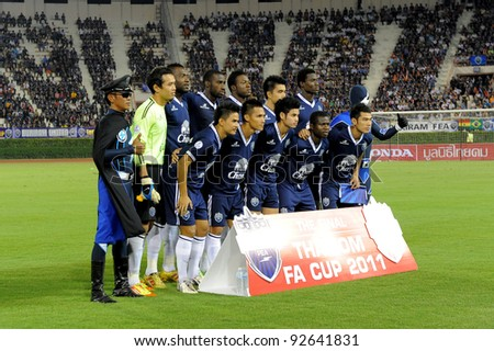 BANGKOK, THAILAND - JAN 11:  the Buriram PEA team line up during the Thaicom FA Cup Final match  between MuangThong United at National Stadium on Jan11,2012 in Bangkok Thailand.