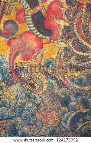 BANGKOK THAILAND JAN 3 Traditional thai style King of Naga on temple Wall display at Wat Pho temple on January 3 2013 in Bangkok Thailand