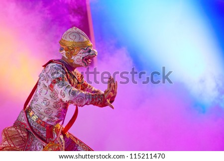 BANGKOK, THAILAND - JANUARY 15:  actor performs Thai ancient dancing Art ,Khon Thai Classical masked ballet, January 15, 2012 at Wat bowonivet annual festival  in Bangkok Thailand