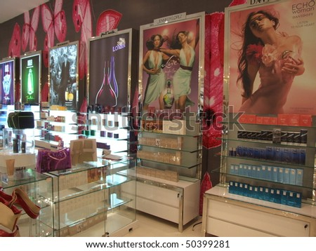 BANGKOK, THAILAND - JANUARY 8: Cosmetics for sale on display at the Siam Paragon shopping center at the grand opening. January 8 2005, Siam center, Bangkok. - stock photo