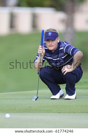 BANGKOK, THAILAND - JANUARY 10: Danish golf player Soren Kjeldsen action at the Royal Trophy tournament, Asia vs Europe at Amata Spring January 10, 2010 in Bangkok, Thailand.