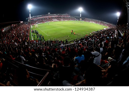 BANGKOK,THAILAND-JANUARY8:Panoramic views unidentified of SCG Muangthong Utd.supporters during The AIA Champions Cup match between SCG Muangthong Utd. and PSV at SCG Stadium on Jan8,2012 in,Thailand.