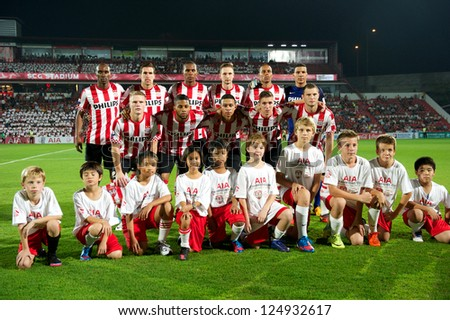 BANGKOK,THAILAND-JANUARY 8:Players of PSV shot for photo during  The AIA Champions Cup match between SCG Muangthong Utd. and PSV at SCG Stadium on Jan8 ,2012 in ,Thailand.