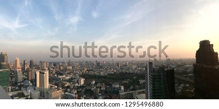 Bangkok, Thailand - January 26th, 2019: panorama view of Bangkok skyline #1295496880