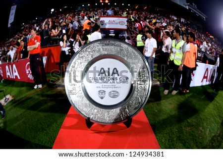 BANGKOK,THAILAND-JANUARY 8:The official AIA Champions Cup trophy on display  during The AIA Champions Cup match between SCG Muangthong Utd. and PSV at SCG Stadium on Jan8 ,2012 in ,Thailand.