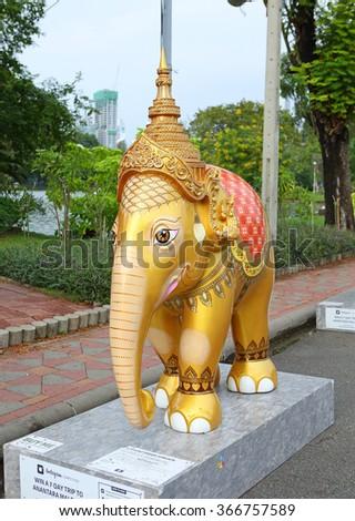 "BANGKOK, THAILAND - JANUARY 24 :The World's Outdoor Art Exhibition and Charity Event ""Elephant Parade Bangkok"" for show and sell at Lumipi Park on January 24, 2016 in Bangkokbank Thailand #366757589"