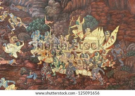 BANGKOK, THAILAND - JANUARY 14 : Traditional Thai painting art about Ramayana story on display at the temple wall Wat Prakaew on January 14, 2013 in Bangkok, Thailand.