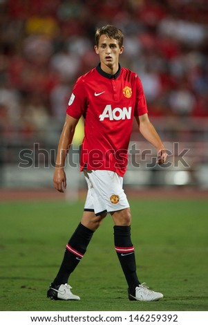 BANGKOK THAILAND-JULY13:Adnan Januzaj of Manchester United in action during the friendly match between Singha All Star XI and Manchester United at Rajamangala Stadium on July13,2013 in Thailand.