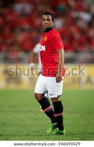 BANGKOK THAILAND-JULY13:Anderson of Manchester United in action during the friendly match between Singha All Star XI and Manchester United at Rajamangala Stadium on July13,2013 in Thailand.