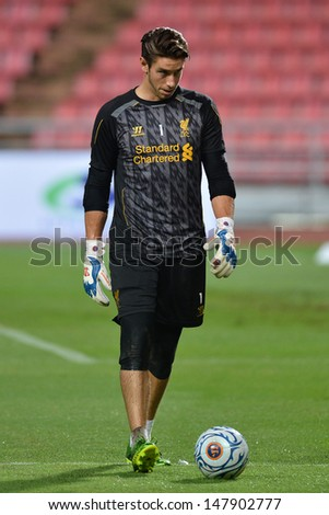 BANGKOK,THAILAND- JULY 27: Brand Jones goalkeeper of Liverpool FC in action during a Liverpool FC training session at Rajamangala Stadium on July 27, 2013 in Bangkok, Thailand.