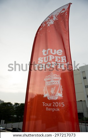 BANGKOK THAILAND JULY 14 :Flag Liverpool supporters during the international friendly match Thai All Stars and Liverpool FC at Rajamangala Stadium on July14,2015 in,Thailand.