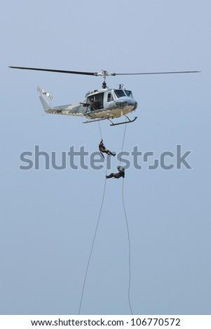 BANGKOK, THAILAND - JULY 02: Helicopter was shown at Cerebration of 100 year of Royal Thai air force (RTAF) at Don Muang airport on July 02,2012 in Bangkok, Thailand