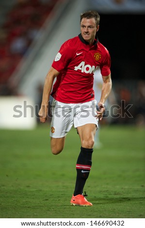 BANGKOK THAILAND-JULY13:Jonny Evans of Manchester United in action during the friendly match between Singha All Star XI and Manchester United at Rajamangala Stadium on July13,2013 in Thailand.