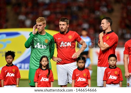 BANGKOK THAILAND-JULY13: Players of Manchester United looks on prior to the friendly match between Singha All Star XI and Manchester United at Rajamangala Stadium on July13,2013 in Thailand.