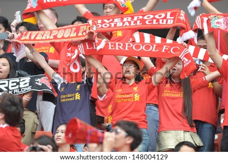 BANGKOK, THAILAND - JULY 28: Thai Liverpool FC supporters during Liverpool FC Tour 2013 Thailand between Thailand (R) and Liverpool (W) at Rajamangala Stadium on July 28, 2013 in Bangkok, Thailand.