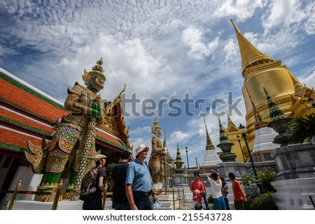BANGKOK,THAILAND-JULY 22:The beautiful big ancient golden pagoda is the famous place for Thai and tourists to visit at Wat Prakeaw temple on July 22,2012 in Bangkok,Thailand