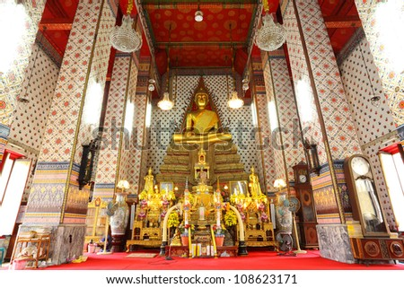 BANGKOK, THAILAND - JULY 4 :The beautiful Buddha in ancient temple over 200 years.The Buddha and temple is very popular for the tourist at Aroonratchawararam temple on July 4,2012 in Bangkok,Thailand