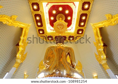 BANGKOK, THAILAND - JULY 2 :The most highest intrinsic value gold Buddha which weight estimated around 5 1/2 tonnes or around $ 21.1 million at Trimitr temple on July 2,2012 in Bangkok, Thailand