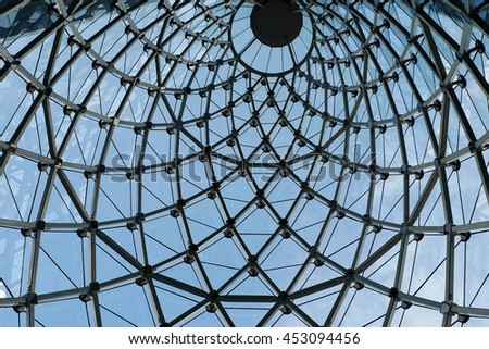 BANGKOK/THAILAND-JULY 15, 2016: The steel framework of the glass cone at Sathorn Square building in Bangkok. The unique design of glass cone marks its landmark in Bangkok CBD.