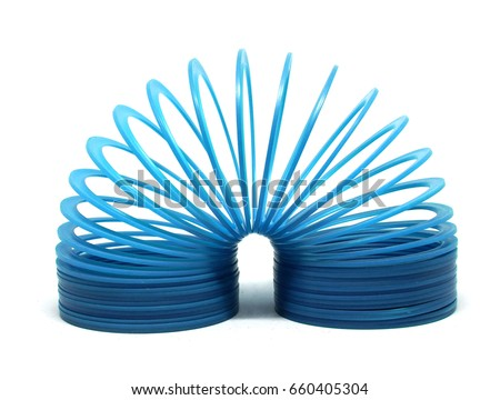 BANGKOK, THAILAND - JUNE 8, 2017 : Blue slinky toy Isolated on white background. Illustrative editorial.