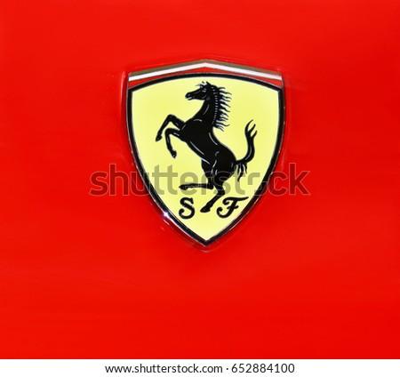 Bangkok Thailand June1 2017 Logo Of Ferrari On The Sport Car