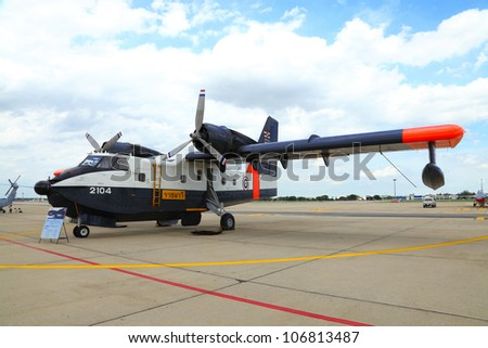BANGKOK, THAILAND - JUNE 29:The Canadair CL-215 of Royal Thai air force was showed in Cerebration of 100 year of Royal Thai air force (RTAF) at Don Muang airport on June 29,2012 in Bangkok, Thailand
