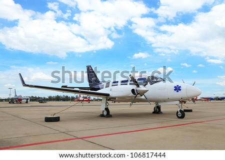 BANGKOK, THAILAND - JUNE 29: The Piper PA-31 Navajo was showed in Cerebration of 100 year of Royal Thai air force (RTAF) at Don Muang airport on June 29,2012 in Bangkok, Thailand