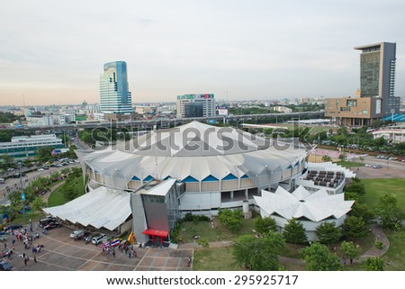 BANGKOK, THAILAND - JUNE 5 : Top view of Indoor Stadium Huamark on June 5, 2015 in Bangkok, Thailand. It was built in 1966 for the 5th Asian Games.