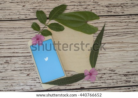 "BANGKOK THAILAND - JUNE 22, 2016 : Twitter is an online social networking and micro blogging service that enables users to send and read ""tweets"", limited to 140 characters."