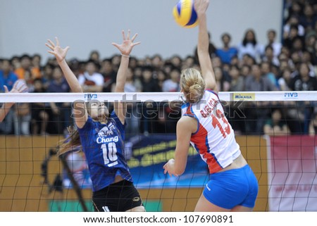 BANGKOK,THAILAND - JUNE 23 : Unidentified players in action a WORLD GRAND PRIX 2012 ( Group J ) Thailand vs Serbia on June 23, 2012 in Bangkok,Thailand