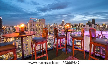 BANGKOK, THAILAND - June 3: View from the top of Above Eleven rooftop bar & restaurant on June 3, 2015 in Bangkok, Thailand. Above Eleven is a rooftop bar on the 33 rd floor of the Fraser Suites