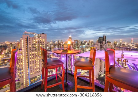 BANGKOK, THAILAND - June 3: View from the top of Above Eleven rooftop bar & restaurant on June 3, 2015 in Bangkok, Thailand. Above Eleven is a rooftop bar & restaurant on the Fraser Suites.