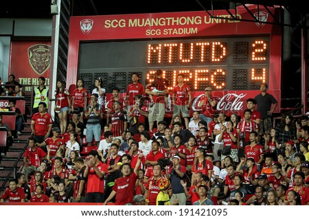 BANGKOK,THAILAND-MA Y 4: The score board of score in half game during the TPL 2014 between SCG Muangthong United and Suphanburi FC at SCG Stadium on May 4, 2014 in Bangkok,Thailand.
