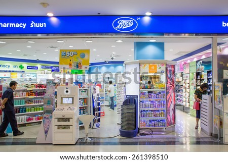 BANGKOK, THAILAND - MARCH 16 : Exterior view of Boots pharmacy store on March 16, 2015 in Bangkok, Thailand. The Boots pharmacy chain has over 3,300 stores in 21 countries.