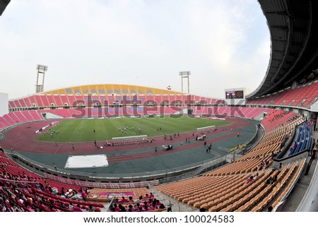 BANGKOK THAILAND - MARCH 18 : Rajamangla (BBCU) Stadium during Thai Premier League (TPL) between BBCU Fc (pink) vs Esan Utd  (black) at Rajamangala stadium on March 18,2012 in Bangkok,Thailand.