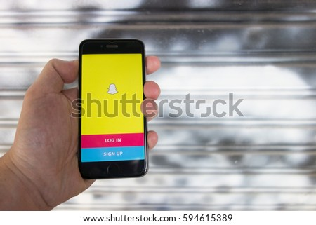 Bangkok. Thailand. March 5, 2017: Snapchat application on iphone6s cell smartphone. Snapchat is a mobile messaging application used to share photos, videos, text, and drawings.