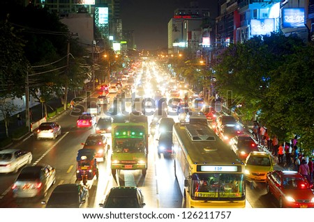 BANGKOK, THAILAND - MARCH 26: Traffic jam on March 26, 2011 in Bangkok. Bangkok had one of the worst traffic problems in the world with unbelievable traffic jams. - stock photo