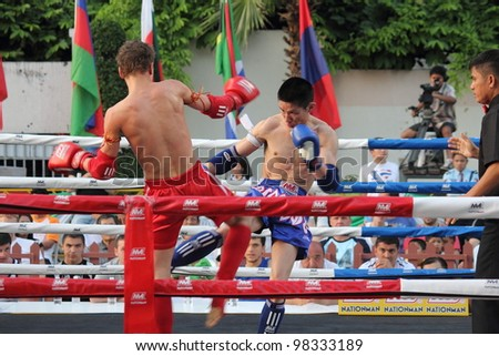 BANGKOK, THAILAND- MARCH 22 : unidentified Muay Thai fighter in World Amateur Muaythai Champioships 2012. on March 22, 2012 at National Stadium, Bangkok, Thailand