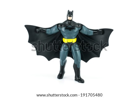 Bangkok,Thailand - May 05, 2014: DC Comic Batman figure Toy. There are plastic toy sold as part of the McDonald's Happy meals. - stock photo