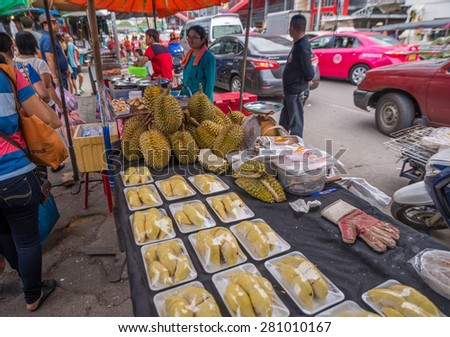 Bangkok, Thailand - May 23, 2015 Durian for sell on street at Jatujak market, the biggest weekend market in South East Asia. Visit by taking MRT to Kampengpet station