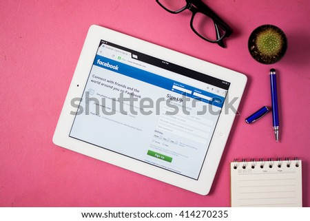 BANGKOK,THAILAND - May 2,2016: Facebook is an online social networking service founded in February 2004 by Mark Zuckerberg with his college roommates