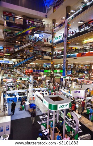 BANGKOK, THAILAND - MAY 12: people inside the Pantip Plaza, the biggest electronic and software shopping complex in Thailand to get some bargain on May 12, 2009 in Bangkok, Thailand.