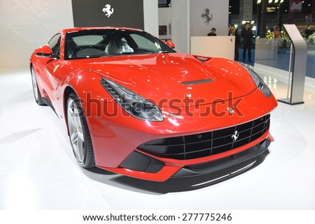 BANGKOK THAILAND - MAY 09 : Red Ferrari Super car showing on exhibit space agency in Bangkok Thailand on 09 May 2015