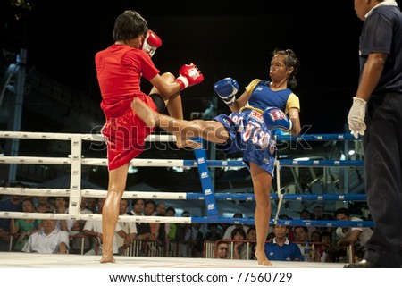 "BANGKOK THAILAND- MAY 18: Unidentified players in Muaythai "" MBK Fight Night"" on May18, 2011 at MBK Shopping Center in Bangkok Thailand"