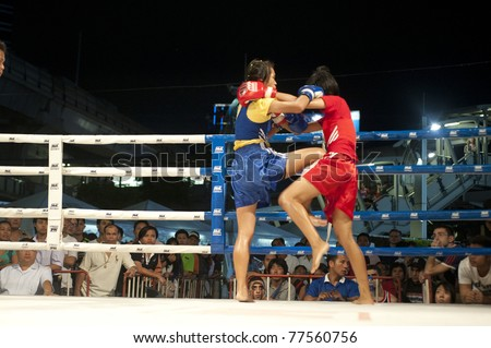 "BANGKOK THAILAND- MAY 18: Unidentified players in Muaythai "" MBK Fight Night"" on May18, 2011 at MBK Shopping Center in Bangkok Thailand"