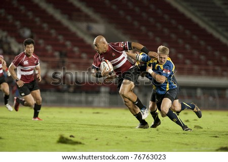 BANGKOK ,THAILAND - MAY 7 : Unidentified rugby players during Japan vs Kazakhstan in HSBC Asian 5 Nations Division II & Premier Division 2011 at National Stadium on May 7 , 2011 in Bangkok, Thailand.