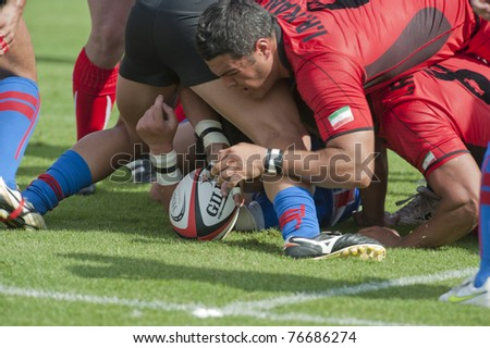 BANGKOK ,THAILAND - MAY 4 : Unidentified rugby players during Taipei vs Iran in HSBC Asian 5 Nations Division II & Premier Division 2011 at National Stadium on May 4 , 2011 in Bangkok, Thailand.