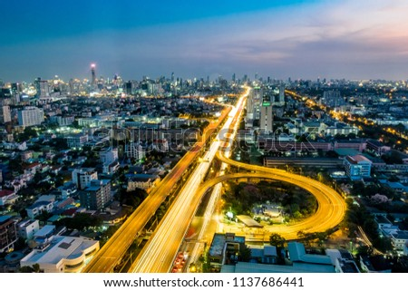 Bangkok/Thailand - 2017 : Night landscape of transportation with pastel sky in Pharam 6 , Bangkok. A lot of car move going on at the night.  #1137686441